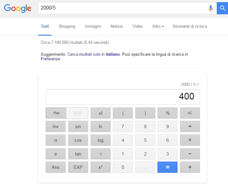 Calcolatrice Google - Promos Web 22